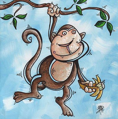Childrens Whimsical Nursery Art Original Monkey Painting Monkey Buttons By Madart Art Print