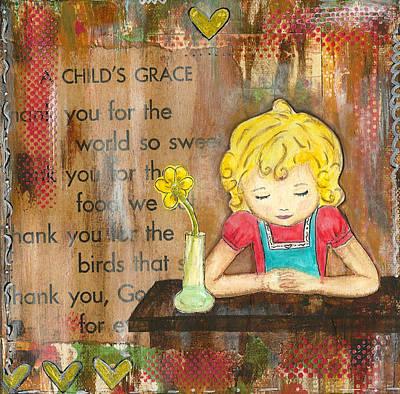 Little Girl Mixed Media - Childs Grace by Lori Barnett