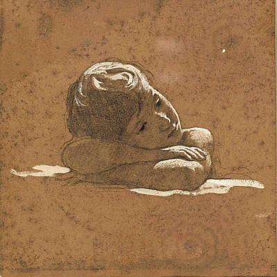 Anselm Feuerbach Photograph - Child's Head by Anselm Feuerbach