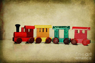 Childs Wooden Train Print by Jacqueline Moore