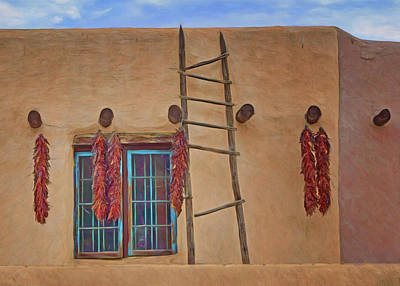 Photograph - Chile Ristras - Window - Ladder by Nikolyn McDonald
