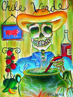 Skeleton Painting - Chile Verde by Heather Calderon