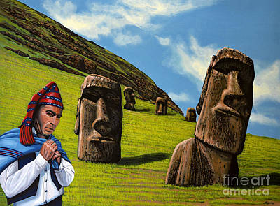 Mountain Man Painting - Chile Easter Island by Paul Meijering