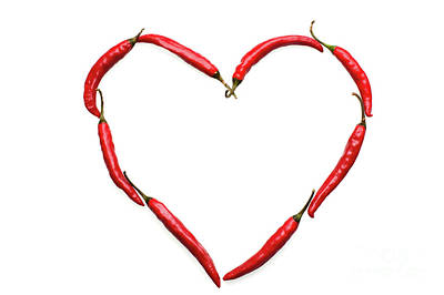 Chillie Photograph - Chili Heart. Symbol Of Love by Etienne Outram