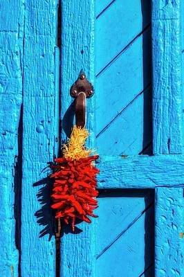 Of Painted Door Photograph - Chilis Hanging On Door by Garry Gay