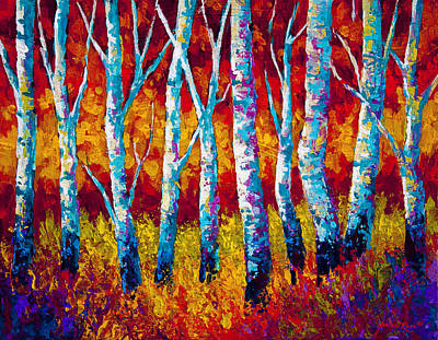 Birch Trees Painting - Chill In The Air by Marion Rose