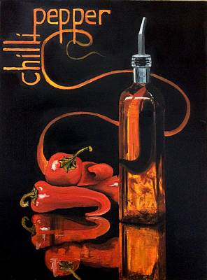 Painting - Chilli Peppers by Art By Three Sarah Rebekah Rachel White