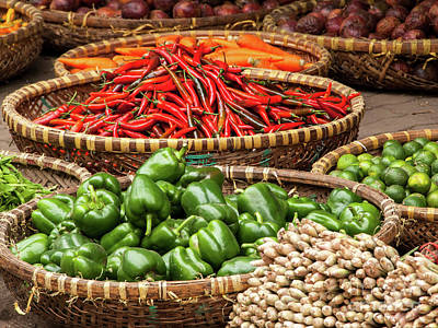 Photograph - Chillies And Capsicums 01  by Rick Piper Photography