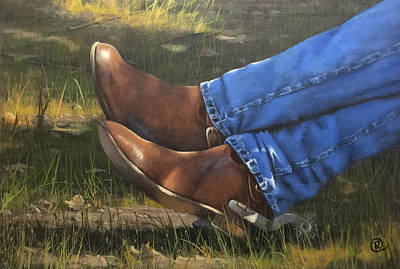 Cowboy Art Collector Painting - Chillin Boots  by Rich Fisher