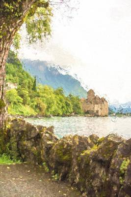 Switzerland Mixed Media - Chillon Castle In Montreux by Gary Guthrie