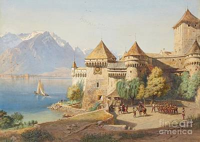 Chillon Painting - Chillon Castle On Lake Geneva by MotionAge Designs