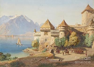 Lake Geneva Painting - Chillon Castle On Lake Geneva by MotionAge Designs
