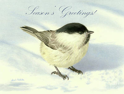 Birds In Snow Wall Art - Painting - Chilly Chickadee- Season's Greetings Cards by Sarah Batalka