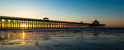 Photograph - Chilly Morning Sunrise On The Charleston Coast - Folly Beach Pier #3 by Donnie Whitaker