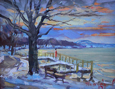 Deck Painting - Chilly Sunset In Niagara River by Ylli Haruni