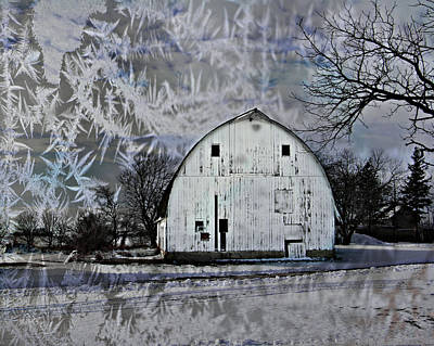 Photograph - Chilly Winter White Barn by Kathy M Krause