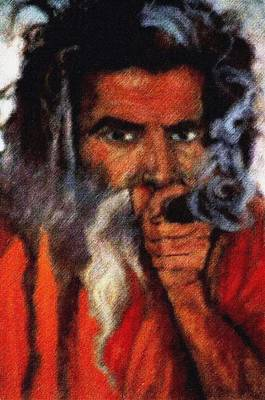 Sadhu Painting - Chilum Baba by Claudio  Fiori