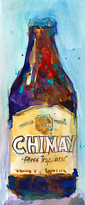 Beer Painting - Chimay Triple - Authentic Trappist Beer Belgian Beer by Dorrie Rifkin