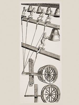 Mechanism Drawing - Chimes Of The Clock Of St. Lambert In by Vintage Design Pics