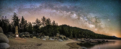 Galatic Photograph - Chimney Beach With Milky Way by Tony Fuentes