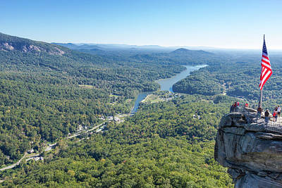 Mountain Landscape Rights Managed Images - Chimney Rock and Lake Lure Royalty-Free Image by Bryan Pollard