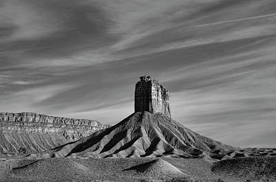 Photograph - Chimney Rock Butte Sw Co Bw by Dave Gordon