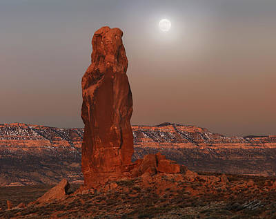 Photograph - Chimney Rock Moon by Leland D Howard