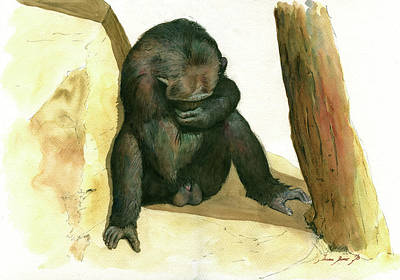 Chimpanzee Painting - Chimp by Juan Bosco