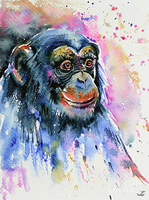 Wet On Wet Painting - Chimp by Zaira Dzhaubaeva