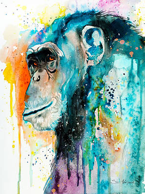 Chimpanzee Mixed Media - Chimpanzee 2 by Slavi Aladjova