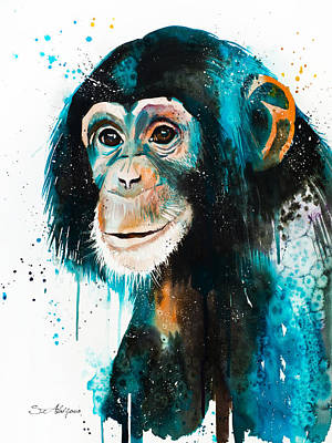 Chimpanzee Mixed Media - Chimpanzee 3 by Slavi Aladjova