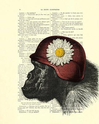 Chimpanzee Digital Art - Chimpanzee With Helmet Daisy Flower Dictionary Art by Madame Memento