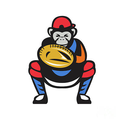 Chimpanzee Digital Art - Chimpanzee Baseball Catcher Retro by Aloysius Patrimonio