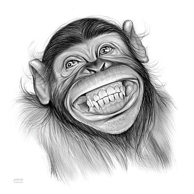 Wildlife Drawing - Chimpanzee by Greg Joens