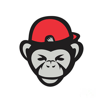 Chimpanzee Head Baseball Cap Retro Art Print