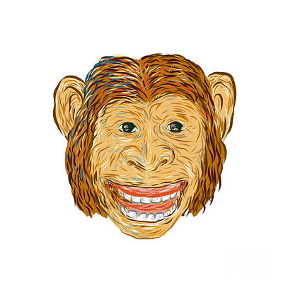 Chimpanzee Digital Art - Chimpanzee Head Front Isolated by Aloysius Patrimonio