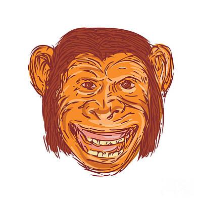 Chimpanzee Digital Art - Chimpanzee Head Front Isolated Drawing by Aloysius Patrimonio