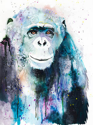 Chimpanzee Mixed Media - Chimpanzee by Slavi Aladjova