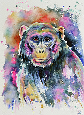 Wet On Wet Painting - Chimpanzee by Zaira Dzhaubaeva
