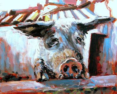 Pig Painting - Chin Ups by Brian Simons