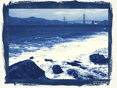 China Beach Photograph - China Beach And Golden Gate Bridge With Blue Tones by Carol Groenen