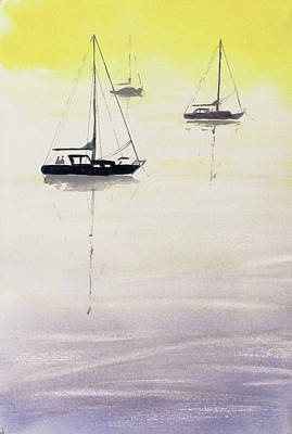 Painting - China Camp Moorage by Tom Simmons
