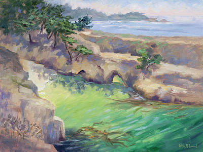 Point Lobos Painting - China Cove Glow by Karin  Leonard