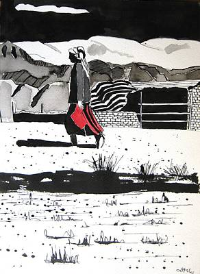 Silk Road Painting - China Kazak Woman by Lesley Giles