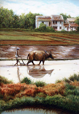 Rice Paddy Painting - China Landscape 2 by Laura Ury