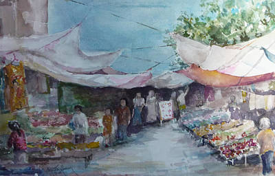 China Market Place Art Print by Dorothy Herron