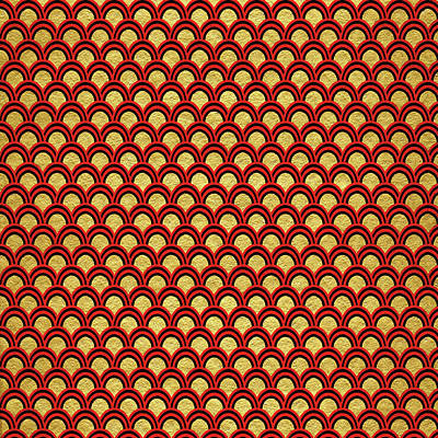 Painting - China Red And Gold Scallop Pattern by Ken Law
