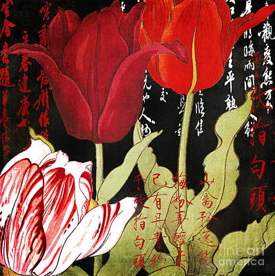 Red Tulip Painting - China Red Tulips by Mindy Sommers