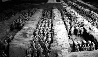 Photograph - China - Terra Cotta Warriors - B/w by Jacqueline M Lewis