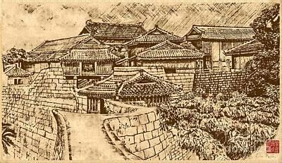 Drawing - China Village by Lita Kelley